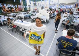 HOLLYN JOHNSON/Tribune-Herald Katie Lambert smiles in a festive mug costume during the 16th Annual Oktoberfest Friday evening put on by the Rotary Club of Hilo Bay at Sangha Hall.