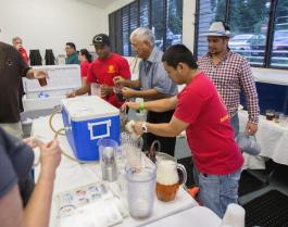 HOLLYN JOHNSON/Tribune-Herald Beer is poured during the 16th Annual Oktoberfest Friday evening put on by the Rotary Club of Hilo Bay at Sangha Hall.